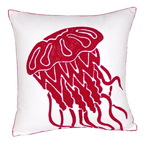 DECOPOW Embroidered Cute Nautical Animal Pillow Covers,Square 18 inch Decorative Canvas Pillow Cover for Nautical Style Deco by (Red-Jellyfish)