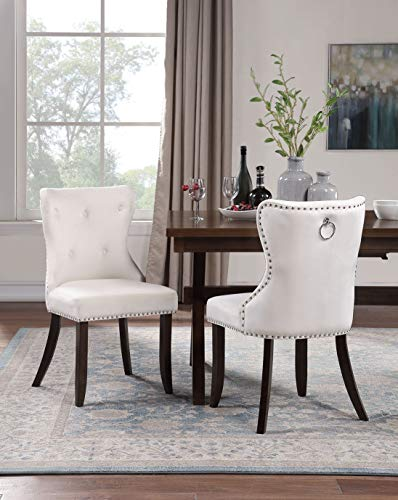 Harper&Bright Designs Dining Chair Tufted Armless Chair Upholstered Accent Chair, Set of 2 (Beige) (Chairs Upholstered Dining Tufted)