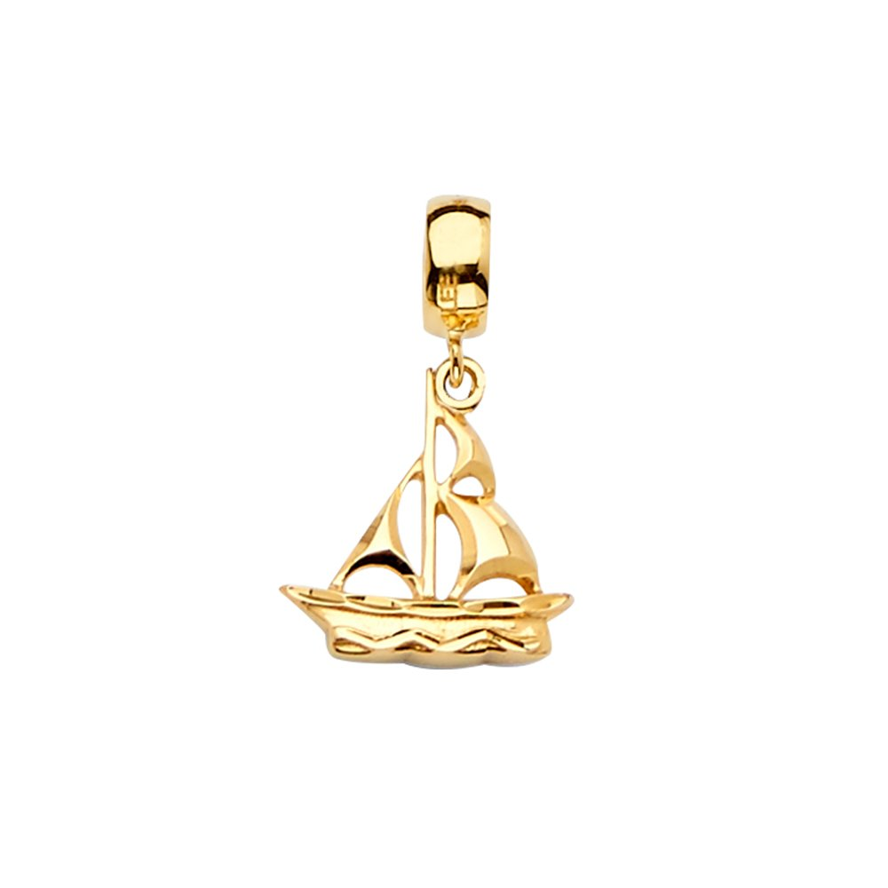 Size : 20 x 13 mm GoldenMine 14k Yellow Gold Boat Charm for Mix/&Match Bracelet