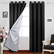 Deconovo Grommet Room Darkening Thermal Insulated Blackout Curtains with Backside Silver for Living Room, 52x84 Inch, Black, 1 Pair