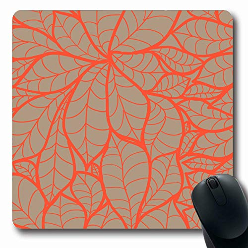 - Ahawoso Mousepads for Computers Floral Orange Fall Doodle Chestnut Leaves Pattern Nature Beige Birch Foliage African Hemp Design Stem Oblong Shape 7.9 x 9.5 Inches Non-Slip Oblong Gaming Mouse Pad