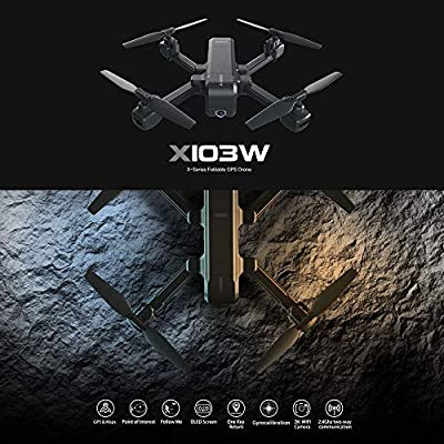 GoolRC MJX X103W GPS RC Drone with 2K HD Camera 5G WiFi FPV Drone Follow Me Altitude Hold Foldable Quadcopter for Adult with 3 Battery