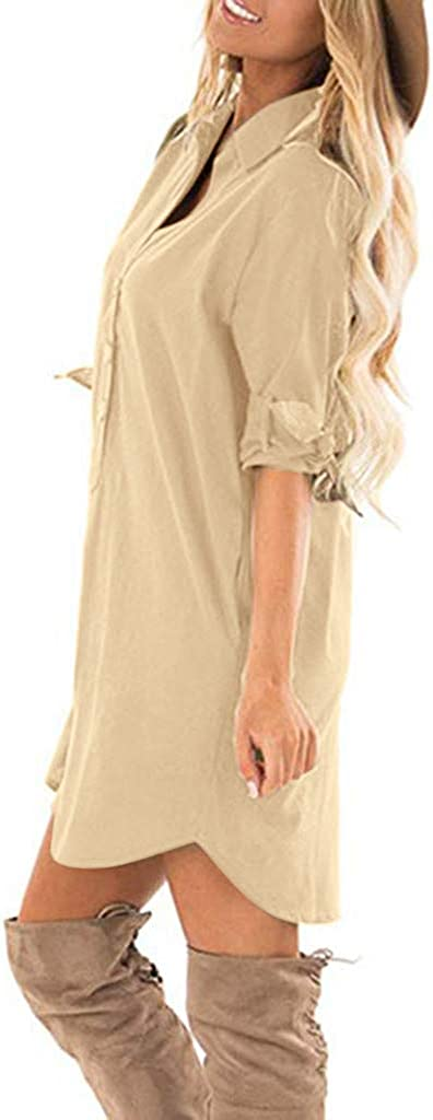 Aoukey Womens Cotton Linen Roll Tab 3//4 Sleeve V Neck Button Pocket Solid Casual Dress Linen Dress