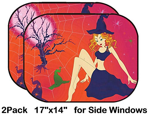 Liili Car Sun Shade for Side Rear Window Blocks UV Ray Sunlight Heat - Protect Baby and Pet - 2 Pack Image ID 32883701 Elegant Halloween Girl with Green Eyes Among Sinister Cobwebs an -