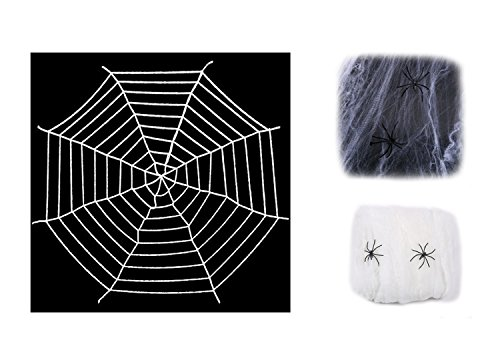 Spider Web Makeup (Chogial Giant Spider Web with Super Stretch Cobweb Set, Halloween Decor Decorations Outdoor Yard, White, 10 Feet)