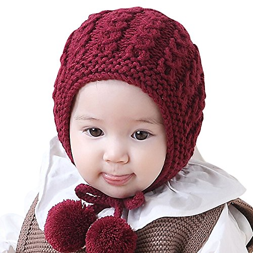 Toddler Winter Hats,kaifongfu Baby Boys Girls Earflaps Children Knitting Winter Warm Ball Hats Cap (Suitable for age:6-18month, Red) - Earflap Ball Cap