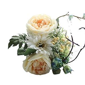 Artificial Flower Latex Touch Rose Bouquet Arrangements Bridal Home DIY Floor Garden Office Wedding Tiean Decor (White) 40