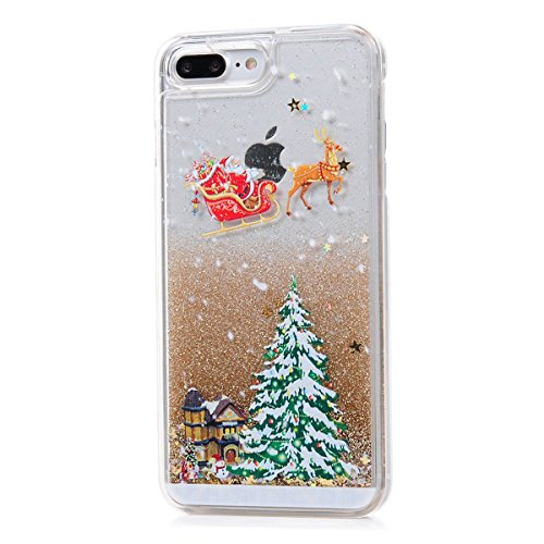 iPhone 7 Plus Case, CinoCase 3D Creative Liquid Case [Christmas Collection] Quicksand Moving Stars Bling Glitter Snowflake Christmas Tree Santa Claus Pattern Hard Case for iPhone 7 Plus (Gold)