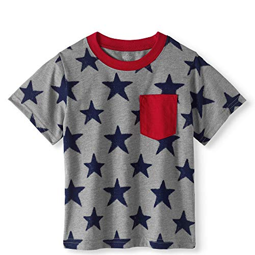- Assorted Toddler Boy 4th of July Short Sleeved Graphic T Shirt (Sizes 2T-5T) (3T, Grey/Navy Stars)
