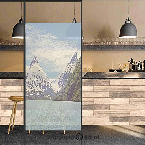 3D Decorative Privacy Window Films,Mountain and Lake in Anchorage Alaska Springtime Sunny Day Scenic View Picture,No-Glue Self Static Cling Glass film for Home Bedroom Bathroom Kitchen Office 24x48 In]()