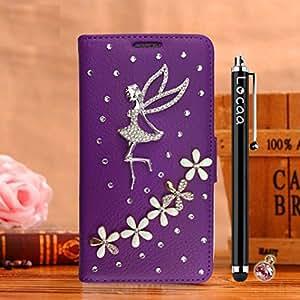 Locaa (TM) for HTC uno M8HTCM83d Bling Case + Stylus + enchufe de teléfono cristalino de lujo de la perla diamond Rhinestone hermosa funda de piel [color Serie 1], compatible con HTC One/HTC One M8, color Amarillo