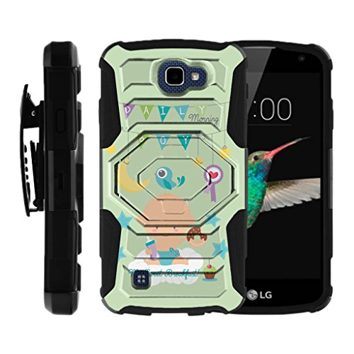 (MINITURTLE Case Compatible w/LG K4 Case, Optimus Zone 3, Spree, LG Rebel [Armor Reloaded] Rugged Shell Armor Fusion Cover Hard Clip Stand Case My Sweat Breakfast)