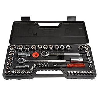52 Trademark GLB Stalwart SAE and Metric 1//4 3//8 1//2 Drive Socket Set