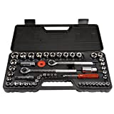 Stalwart 75-HT3014 SAE and Metric 1/4, 3/8 and 1/2 Drive Socket Set, 52 Piece