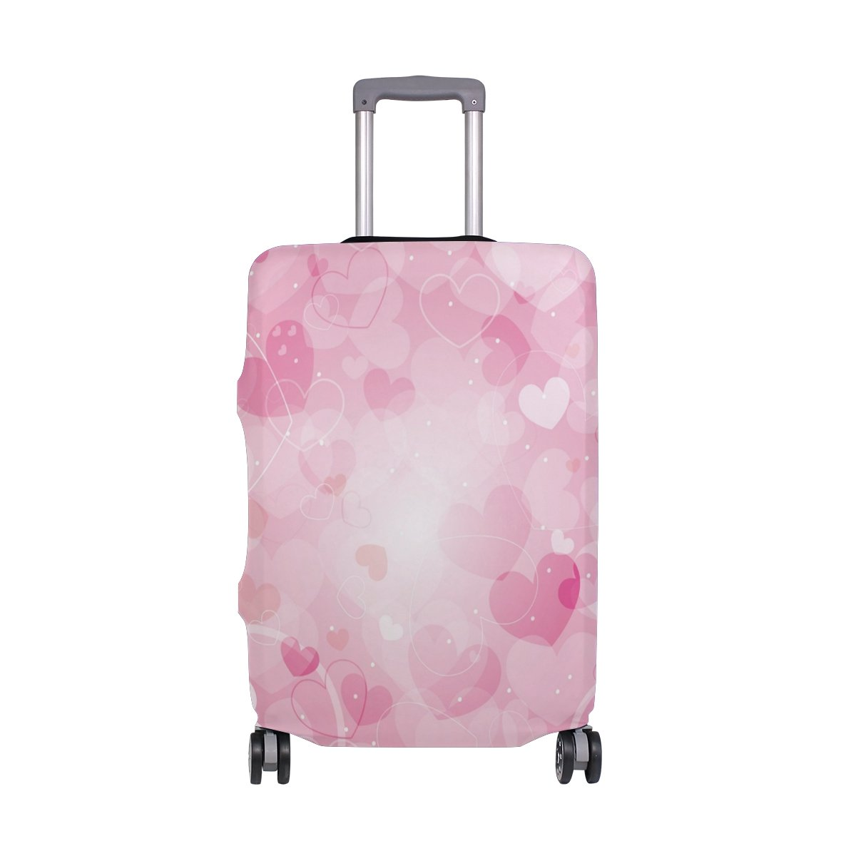 ALAZA Hearts Valentine's Day Wedding Luggage Cover Fits 28-29 Inch Suitcase Spandex Travel Protector L