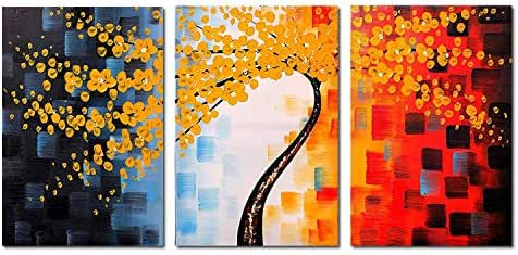 FLY SPRAY 3-Piece Framed 100% Hand Painted Oil Paintings Beautiful Yellow Flowers Tree Knife Painting Style Abstract Canvas Wall Art Decor of Home Decoration Natural Landscape
