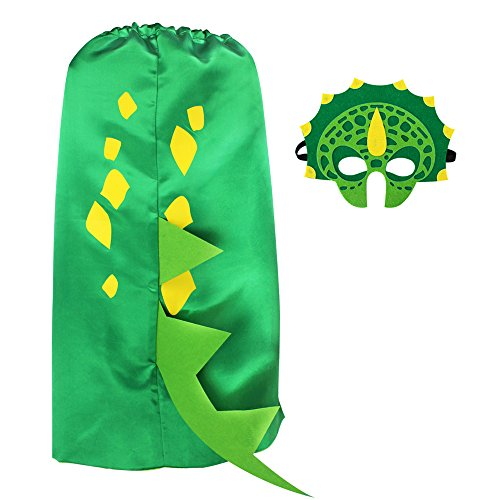 iROLEWIN Dinosaur Cape and Mask- Pretend Cosplay Animal Dress Up Costumes - Kids,Toddler (Green Dino Cape) -