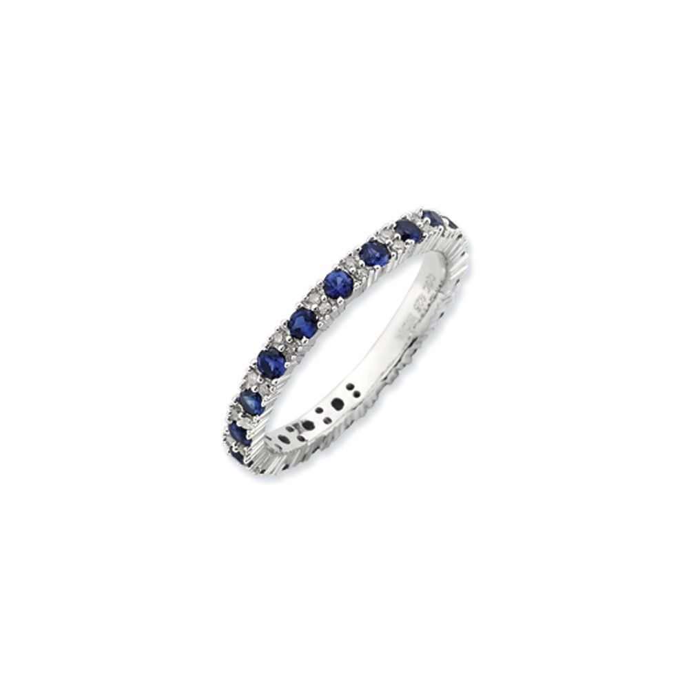2.5mm Stackable Created Sapphire/.13 Ctw HI/I3 Diamond Silver Band Sz7