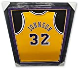 Magic Johnson Hand Signed Autographed Custom Framed Lakers Yellow Jersey JSA/DNA