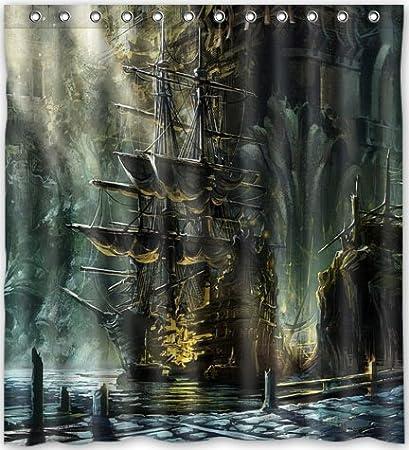 Top Design Nautical Vintage Sailing Pirate Ship Theme Shower Curtain 66quotw X