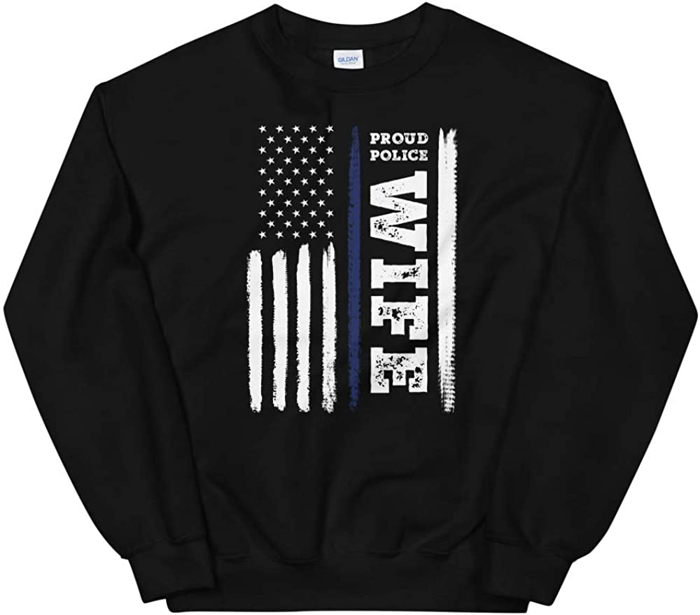 OrangePieces I Back The Blue Proud Police Wife Thin Blue Line Unisex Sweatshirt