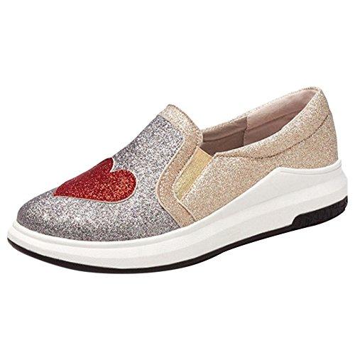 Pumps TAOFFEN Women Slip Fashion Silver On qZTx8A6w