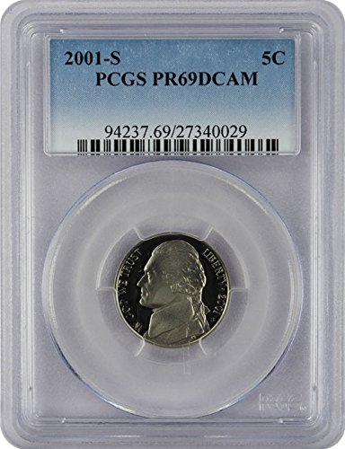 2001 S Proof Jefferson Nickel PCGS PR 69 DCAM New Blue Label Holder