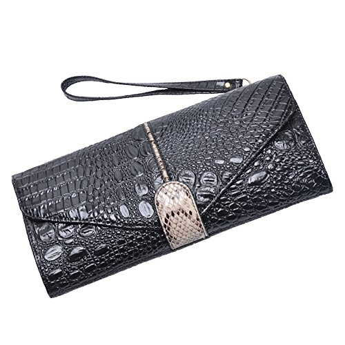 Wristlets Dinner Leather Clutch Crocodile Chain Pattern Shoulder Party Bag Wallet Black Messenger Women's fUqnBdvd