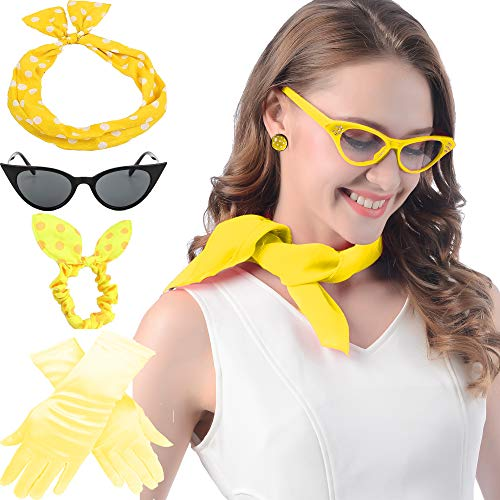Yellow 1950's Womens Costume Accessories -Cat Eye Glasses, 50s Chiffon Scarf, Bandana Tie Headband,Drop Dot Earrings Gloves Set ()