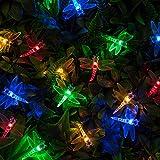 Lights4fun 20 Multi Coloured LED Outdoor Dragonfly Garden Solar Fa