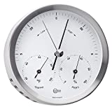 BARIGO Steel Series Barometer/Thermometer/Hygrometer - Stainless Steel Housing - 4'' Dial