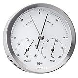 BARIGO Steel Series Barometer/Thermometer/Hygrometer - Stainless Steel Housing - 4'' Dial
