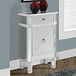 Monarch specialties , Accent Chest 1 Drawer 1 Cabinet, Mirrored, Brushed White Trim, 29″H