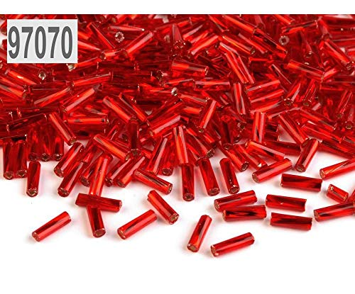 20g 97070 Red Twisted Bugle Beads PRECIOSA 6mm, Cut and Seed