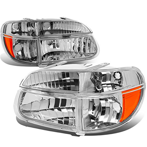 For Ford Explorer/Mercury Mountaineer Pair of Chrome Housing Headlights & Amber Corner Lights