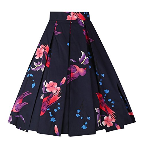 Dresstore Vintage Pleated Skirt Floral A-line Printed Midi Skirts with Pockets Swallow-Navy-S