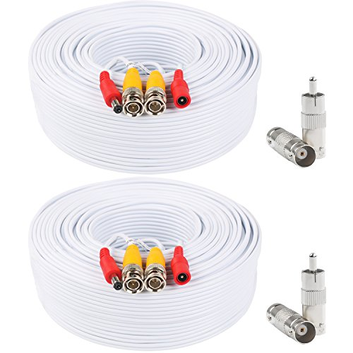 Postta BNC Video Power Cable (2 Pack 100 Feet) Pre-Made All-in-One Video Security Camera Cable Wire with Four Connectors for CCTV DVR Surveillance System