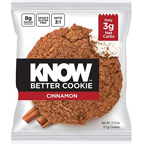 - KNOW Foods - KNOW Better Cookie, Cinnamon, Keto Snack, Low Carb Snack, Protein Cookie, Gluten Free, 2.01oz Cookie, 8 Count