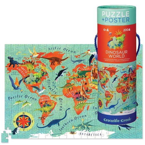 Crocodile Creek - Dinosaur World - 200Piece Jigsaw Puzzle with Decorative Poster for Kids Ages 6 & Up