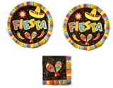 Festive Fiesta Fun Party Bundle 10 1/2'' Plates (16) Napkins (16)