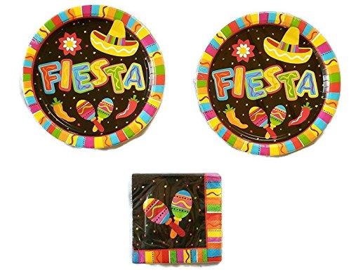 Festive Fiesta Fun Party Bundle 10 1/2'' Plates (16) Napkins (16) by Celebration Party Supply
