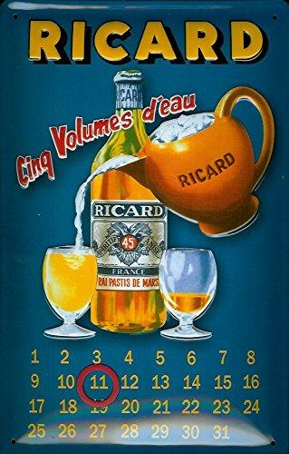 ricard-pastis-cinq-volumes-deau-calendar-nostalgic-3d-embossed-domed-strong-metal-tin-sign-787-x-118