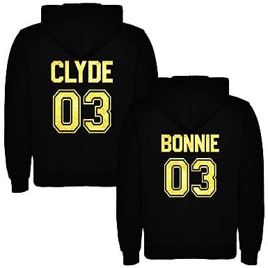 Dalim Pack de 2 Sudaderas Negras para Parejas Bonnie y Clyde Dorado (Mujer Tamaño L