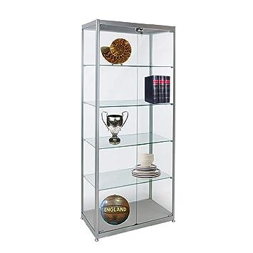 Displaysense Silver Double Glass Door Display Cabinet Width 800mm