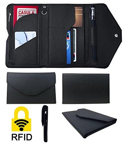 Womens RFID Blocking Wallet, Multi-purpose RFID Blocking Passport Wallet