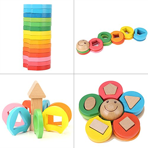 - GLOGLOW Colorful Wooden Blocks Set Toy Flower Geometric Puzzles Stacker Teaching Aid Column Hand-making Educational Holiday Birthday Gift for Kids