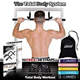 ZinFit Total Body System Pull Up Bar for Doorway with Resistance Bands (All-in-One) Doorframe Pull-Ups, Chin Ups, Floor Dips, Leg Raises, Abdominal Exercises | Heavy-Duty Steel