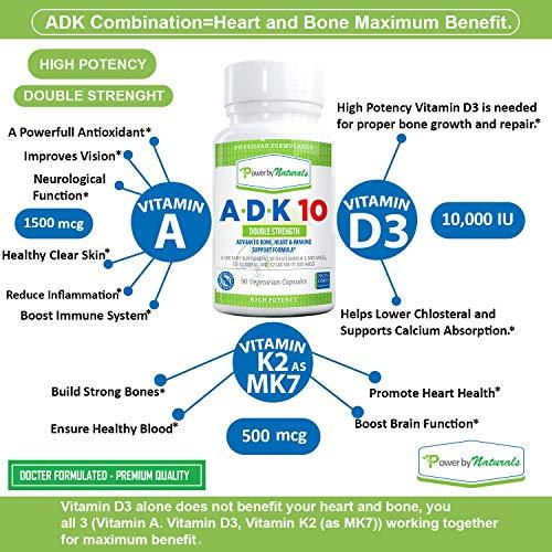 Power By Naturals ADK 10 Vitamin – Advanced Formula, Double Strength A D K 10000 iu – High Potency Vitamins A, D3 (10,000 iu), K2 (MK-7) – Best Supplement for Bones, Heart & Immune Support (90 Pills)