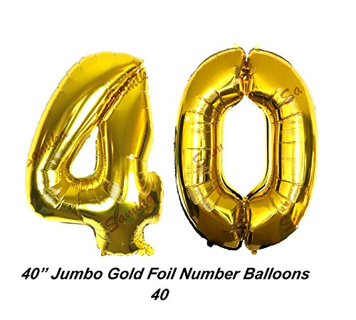 Large 40 Inch Happy 40th Birthday Decoration Foil Helium Balloon Set Comes With Gaint