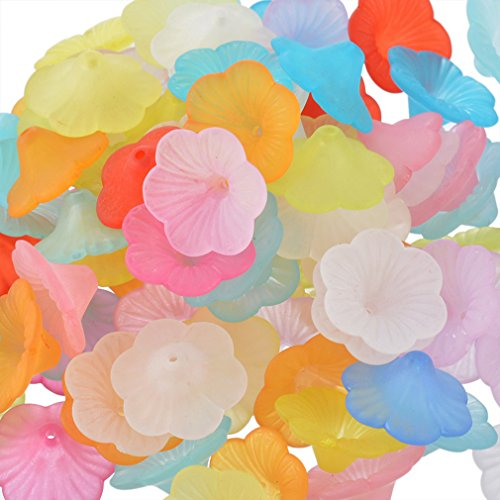 Souarts Mixed Acrylic Frosted Flower Shape Loose Beads Pack of 100pcs